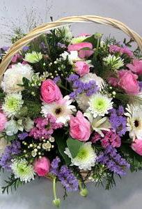 Cesta grande tonos rosas y lilas Flores Lantana